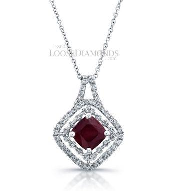 14k White Gold Classic Style Double Halo Diamond & Ruby Pendant