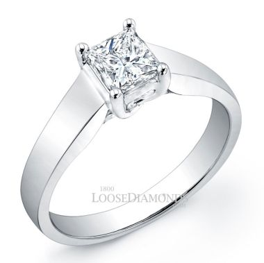 14k White Gold Modern Style Tapered Solitaire Engagement Ring