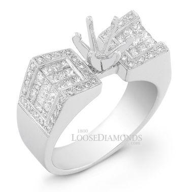 14k White Gold Modern Style Engraved Diamond Engagement Ring