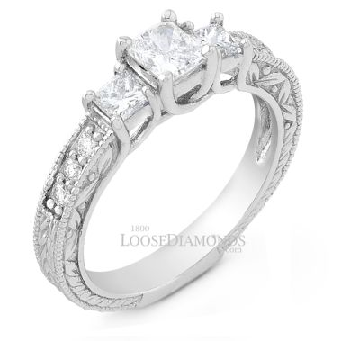 14k White Gold Vintage Style Engraved 3 Stone Diamond Engagement Ring