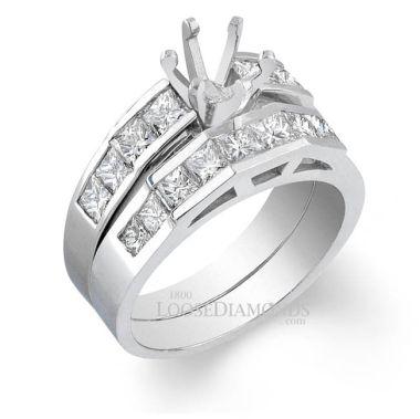 14k White Gold Modern Style Diamond Wedding Set