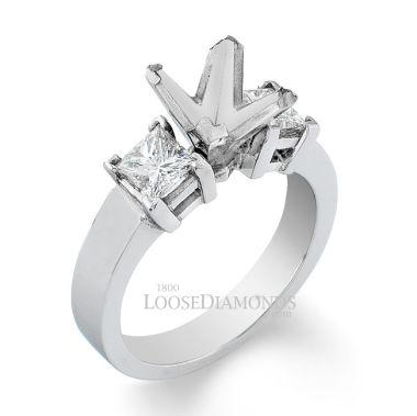 14k White Gold Modern Style 3-Stone Princess Cut Diamond Engagement Ring