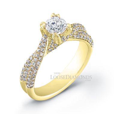 14k Yellow Gold Modern Style Twisted Shank Diamond Engagement Ring