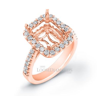 14k Rose Gold Classic Style Diamond Halo Engagement Ring