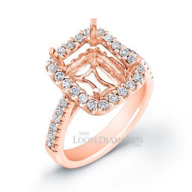 18k Rose Gold Classic Style Diamond Halo Engagement Ring