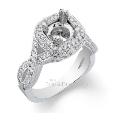Platinum Vintage Style Twisted Shank Diamond Halo Engagement Ring