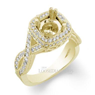 14k Yellow Gold Vintage Style Twisted Shank Diamond Halo Engagement Ring
