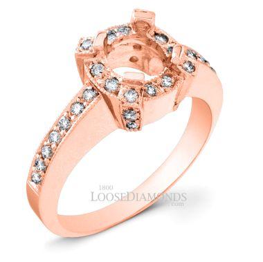18k Rose Gold Vintage Style Engraved Diamond Halo Engagement Ring
