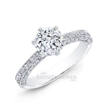 Platinum Classic Style Engraved Diamond Engagement Ring