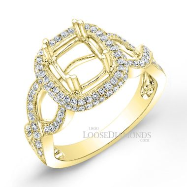 14k Yellow Gold Modern Style Engraved Twisted Shank Diamond Halo Engagement Ring