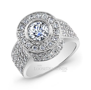 14k White Gold Modern Style Diamond Halo Cocktail Ring