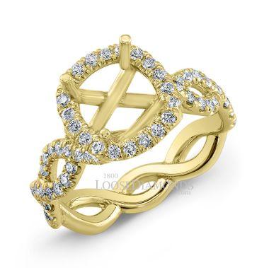 14k Yellow Gold Art Deco Style Twisted Shank Diamond Halo Engagement Ring