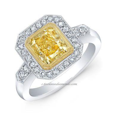 18k White Gold Vintage Style Engraved Two Tone Diamond Halo Engagement Ring