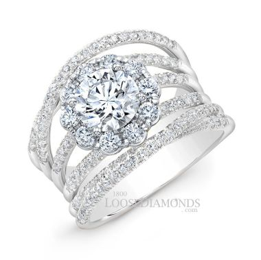 14k White Gold Modern Style 2-Tone Diamond Halo Cocktail Ring