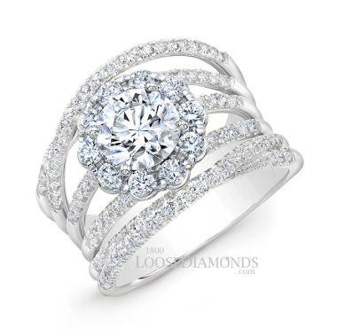 14k White Gold Modern Style 2-Tone Twisted Shank Diamond Halo Engagement Ring