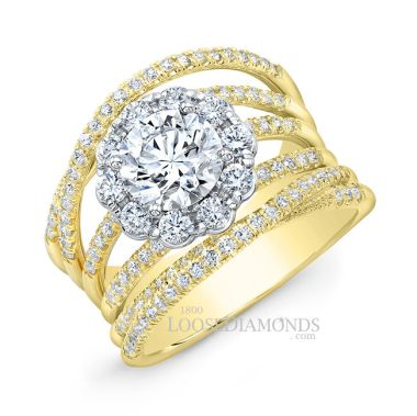 14k Yellow Gold Modern Style 2-Tone Twisted Shank Diamond Halo Engagement Ring