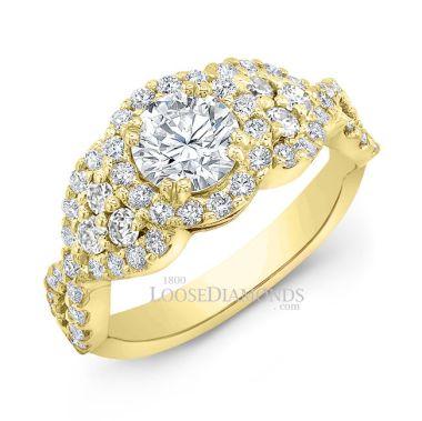 14k Yellow Gold Modern Style Twisted Shank Diamond Halo Engagement