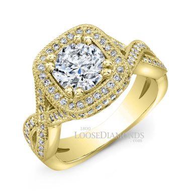 14k Yellow Gold Twisted Shank Diamond Halo Engagement Ring