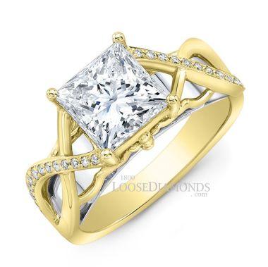 14k Yellow Gold Art Deco Style Twisted Shank Diamond Engagement Ring
