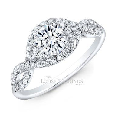 14k White Gold Modern Style Twisted Shank Diamond Halo Engagement Ring