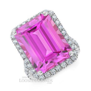 14k White Gold Modern Style Halo Engagement Ring