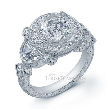 14k White Gold Vintage Style Hand Engraved Diamond Engagement Ring