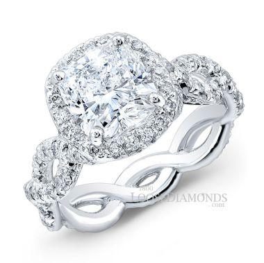 Platinum Art Deco Style Twisted Shank Diamond Halo Engagement Ring