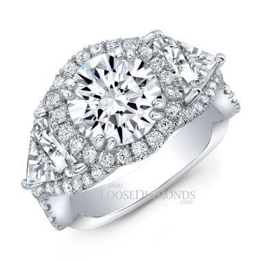 18k White Gold Modern Style Twisted Shank Diamond Halo Engagement Ring