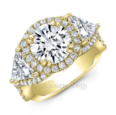 14k Yellow Gold Modern Style Twisted Shank Diamond Halo Engagement Ring
