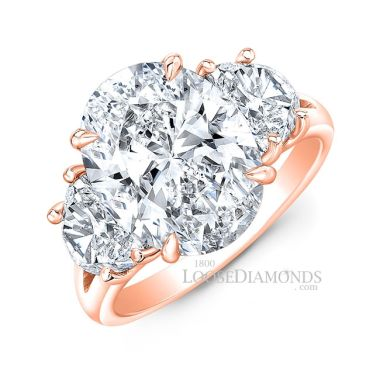 18k Rose Gold Classic Style Oval Diamond Ring