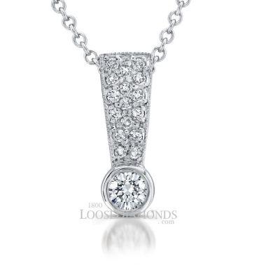 14k White Gold Classic Style Diamond Slider Pendant
