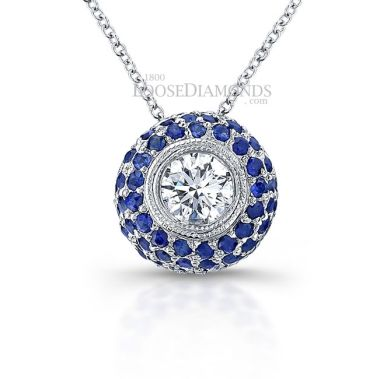 14k White Gold Classic Style Engraved Diamond & Sapphire Halo Slider Pendant