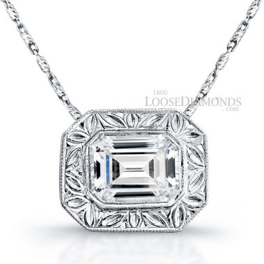 14k White Gold Vintage Style Engraved Diamond Slider Pendant