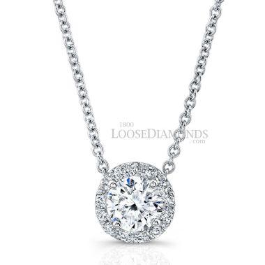 14k White Gold Classic Style Diamond Halo Pendant