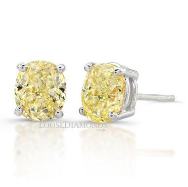 14k White Gold Oval Diamond Stud Earrings