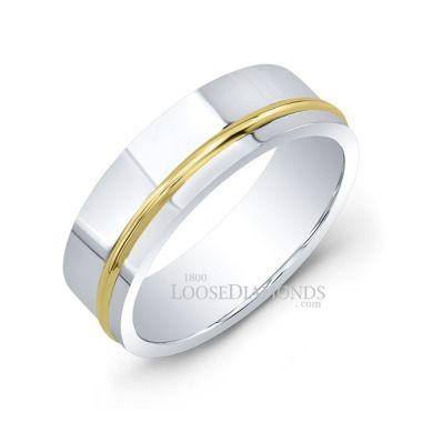14k White Gold Men's 7mm Modern Style Two Tone Wedding Band