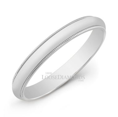14k White Gold 3mm Engraved Comfort Fit White Gold Wedding Band