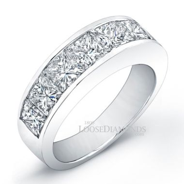 18k White Gold Men's Modern Style Diamond Wedding Band