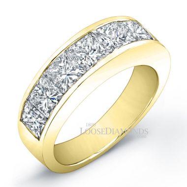14k Yellow Gold Men's Modern Style Diamond Wedding Band