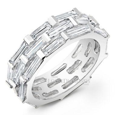 14k White Gold Men's Baguette Diamond Wedding Band