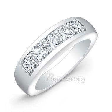 14k White Gold Men's Modern Style Princess Cut Diamond Wedding Band