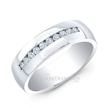 14k White Gold Men's Classic Style Comfort Fit Diamond Wedding Ring