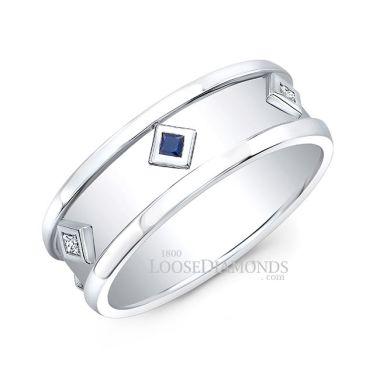 14k White Gold Men's Modern Style Diamond & Sapphire Ring