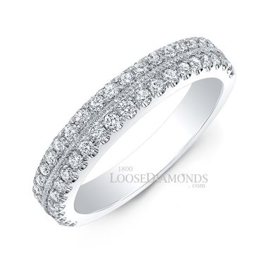 14k White Gold Vintage Style Engraved Wedding Diamond Band