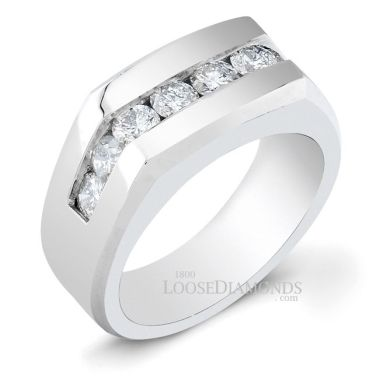 14k White Gold Men's Classic Style Diamond Engagement Ring