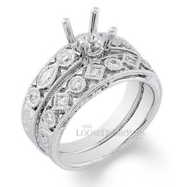 14k White Gold Vintage Style Engraved Diamond Wedding Set