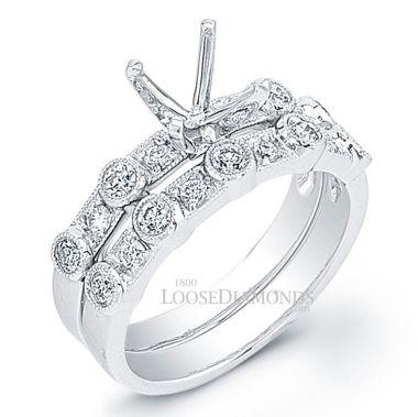 14k White Gold Vintage Style Diamond Wedding Set